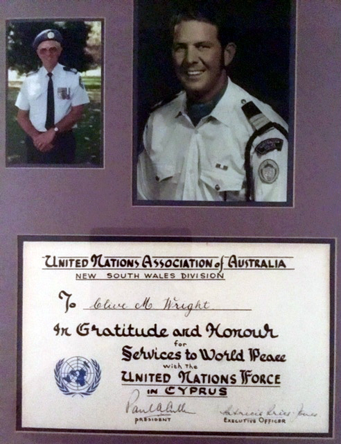 Clive Maxwell WRIGHT. Inscription: United Nations Association of Australia New South Wales Division To Clive M. Wright In gratitude and Honour for Services to World Peace with the United Nations Force in Cyprus President Executive Officer