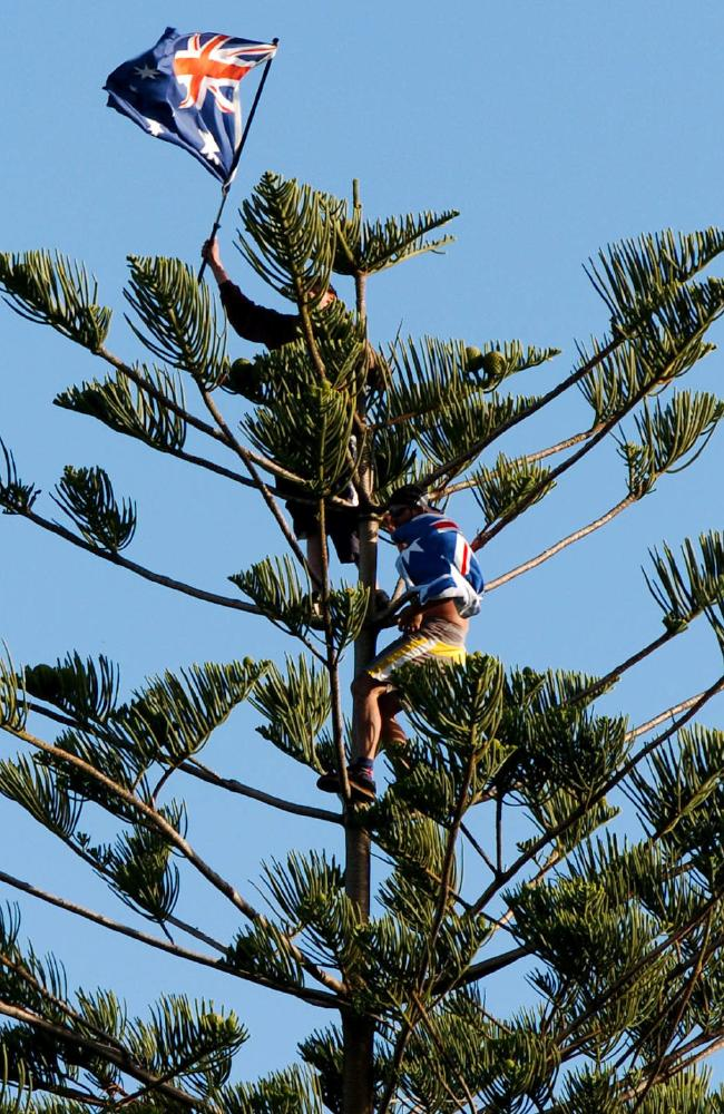 Men fly the flag up a tree at Cronulla before the riots kicked off. Picture: Craig Greenhill