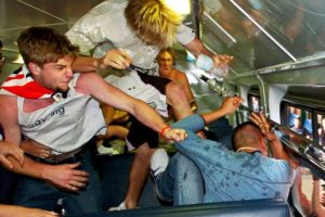 This iconic image titled 'Train Bashing' won a Walkley and the 2006 News Awards Photograph of the Year. Picture: Craig Greenhill