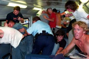 Police quickly saved the Middle Eastern men from the attackers. Picture: Craig Greenhill
