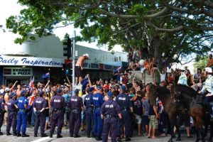 Police line block the crowd in Cronulla. Picture: Craig Greenhill