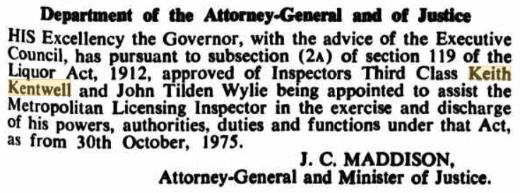 Keith KENTWELL - NSWPF - Appointment to Licencing Inspector - 1975