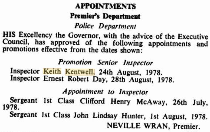 Keith KENTWELL - NSWPF - Appointment to Senior Inspector - 1978