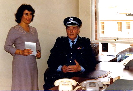 Diane Reid, Inspectors Clerk, with Jim at Fairfield Police Station in 1980. Diane also worked at Merrylands Police Stn.
