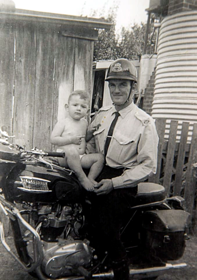 NSW Police , Alan Rugless on a Triumph. This would have been taken in 1964, at Ulmarra, when Alan was stationed at Grafton.