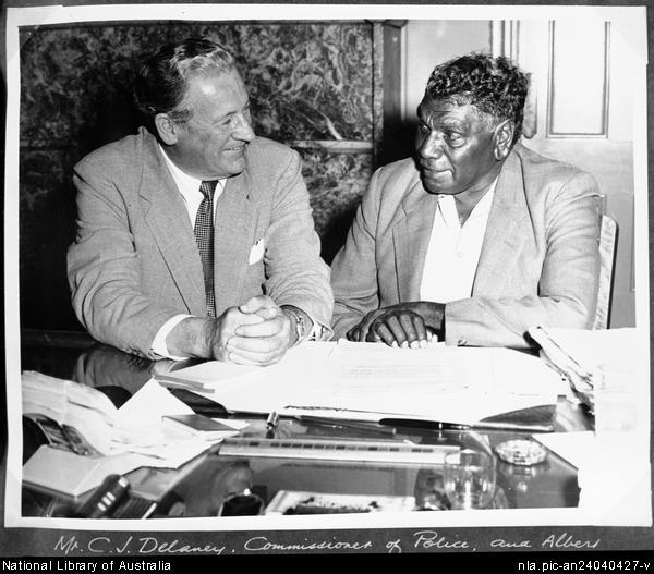 Albert Namatjira with C.J. Delaney, Commissioner of N.S.W. Police sharing a conversation
