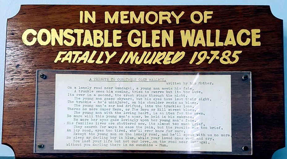 Displayed at the entrance to Gundagai Police Station