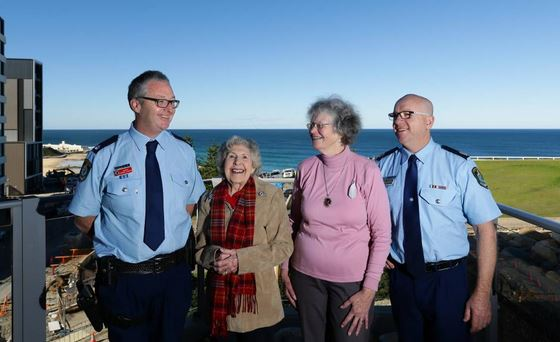 THIN BLUE LINE: Inspector Gerard Lawson, Faye Cooper, Margaret Williams and Superintendent John Gralton on Thursday. Picture: Jonathan Carroll<br />
