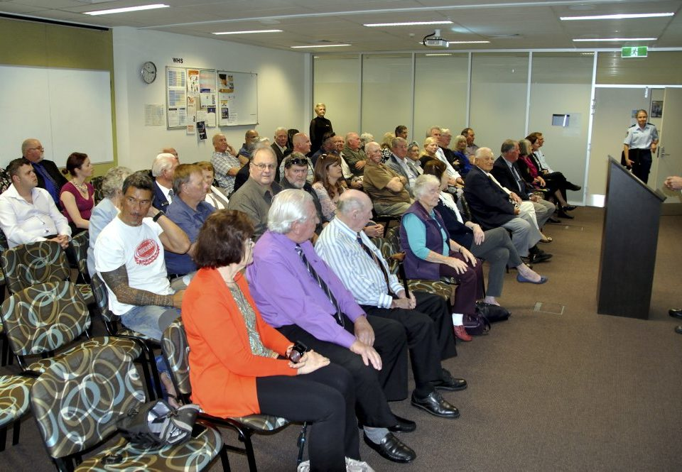 THURSDAY  8 SEPTEMBER 2016 LAKE ILLAWARRA RETIRED POLICE DAY. 45 people turned out to Lake Illawarra ( Oak Flats ) Police Station at 10am today for the Retired Police Day. 15 National Police Service Medals were awarded to various Police who live in and / or worked in the Lake Illawarra Area Command. These awards were presented by the current LA Commander, Zoran Dzevlan. The Group being Welcomed by Sgt Scott Abbett.