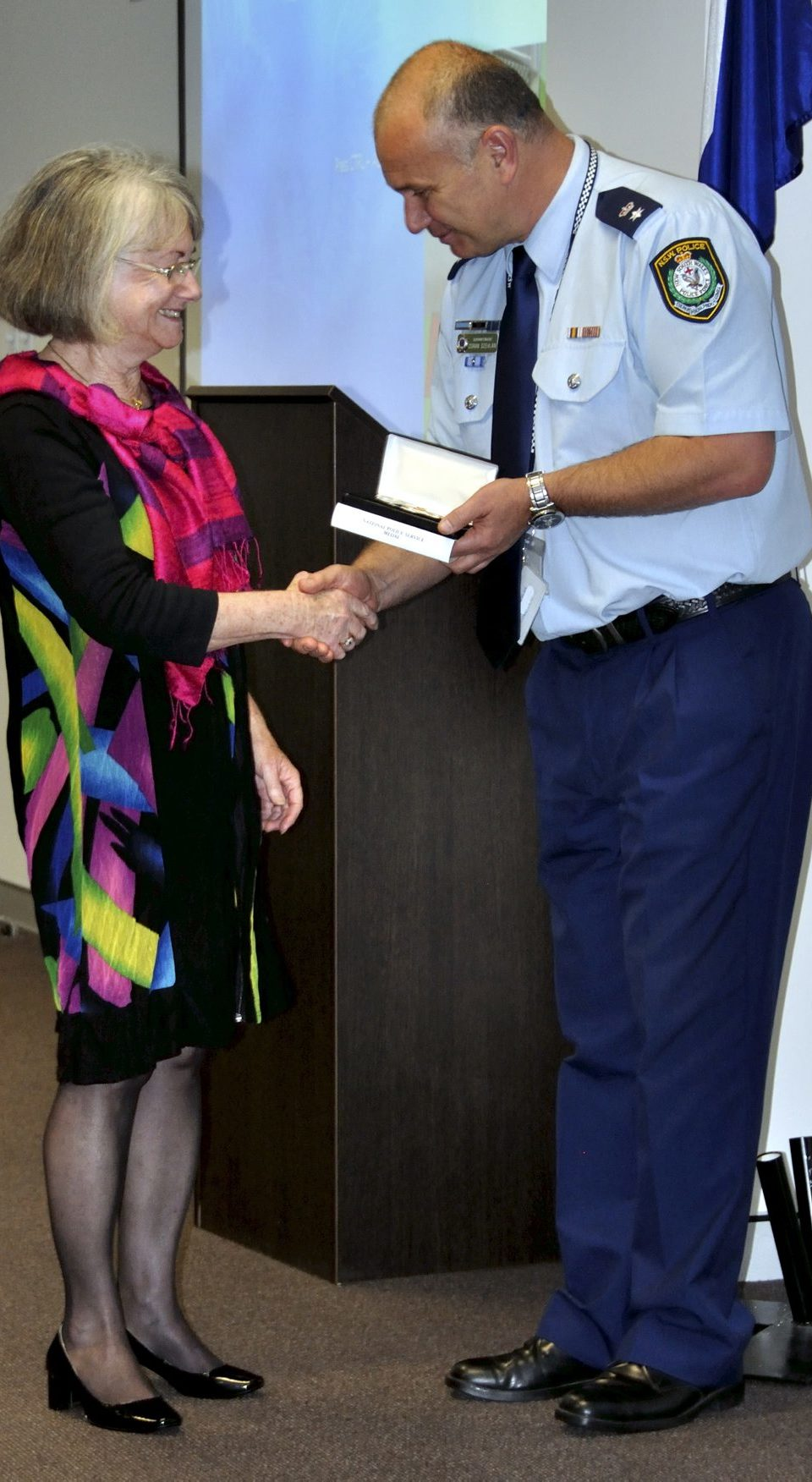 Susan GOOD - wife of John Stafford GOOD ( R.I.P. ) accepting the Medal. https://www.australianpolice.com.au/john-stafford-good/