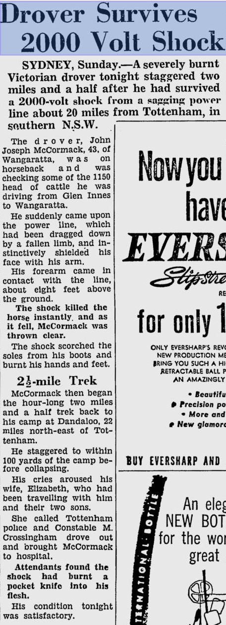 """""""possibly"""" but not confirmed - Morris CROSSINGHAM The Age 16 November 1959 p 1"""