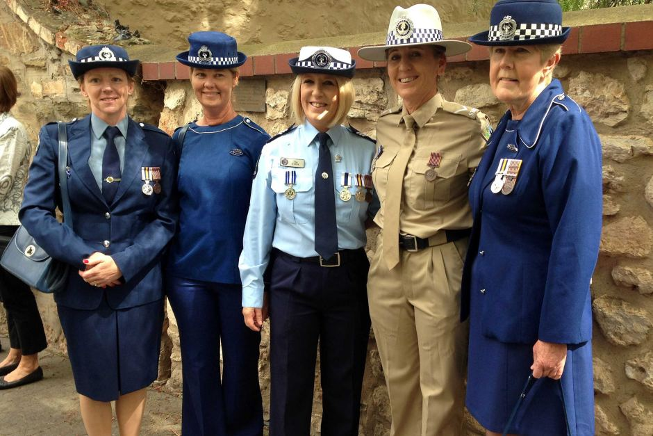 Policewomen at 100 anniversary march<br /> Posted 1 Dec 2015, 1:47pm<br /> Sharynee Grant (far right) with other officers wearing different South Australian police uniforms from over the years at the march in Adelaide.
