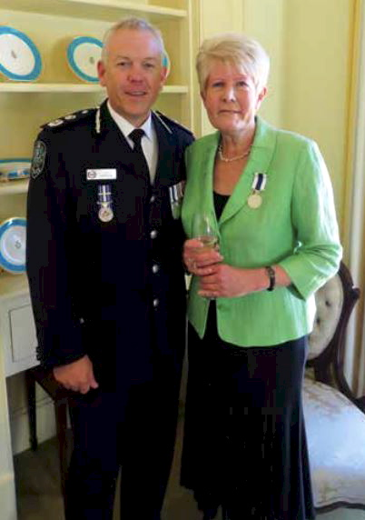 Constable Sharynne Grant with Commissioner Grant Stevens at Government House.