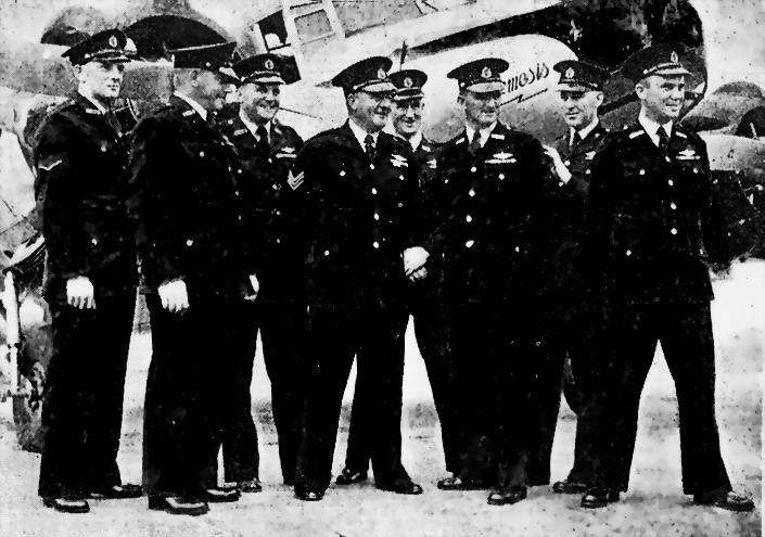 "The Original 1946 NSW Police Flight or ""Flying Squad"" with the Avro ""Nemesis"". Two future NSW Police Commissioners are here: (from left to right) Senior Constable M.T. Wood (Commissioner 1977-79), Constables H.D.Johnson and D.Paul. Flight Commander, Sgt. F.J. Hanson (Commissioner 1972-1976), Detective S/C V.Murphy and Constables E.D. Baldwin and F.E. Hyland."