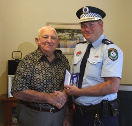 Former local police officer Fred Pitchford was presented with his 20-year Police Medal by Inspector Jason Edmunds last week.