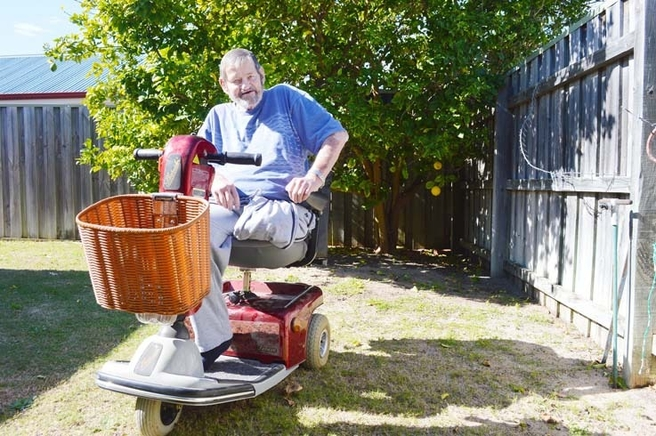 Rockingham disabled man Bill Pockran, who had his gopher stolen last week, is overwhelmed by kindness and donations from strangers, receiving a replacement scooter at the weekend. Picture: Hayley Goddard