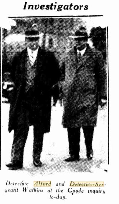 20 June 1932. Detective Alford and Detective Sergeant Watkins at the Goode inquiry today.