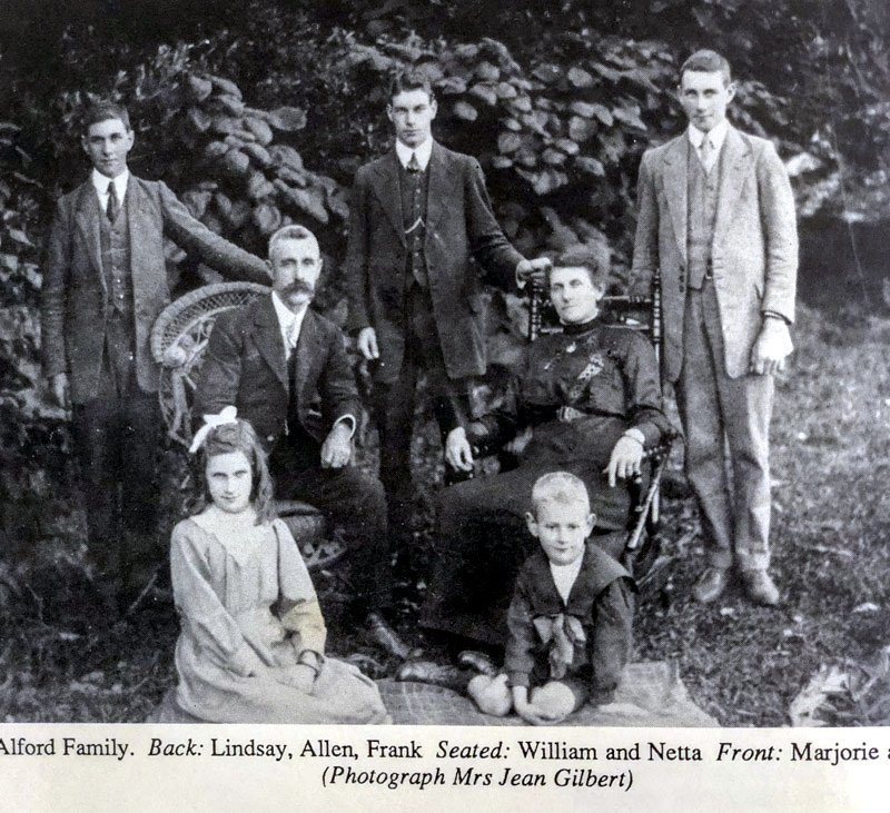 Alford FamilY. Back: Lindsay, Allen, Frank Seated: William and Netta Front: Marjorie a ( Photograph Mrs Jean Gilbert )