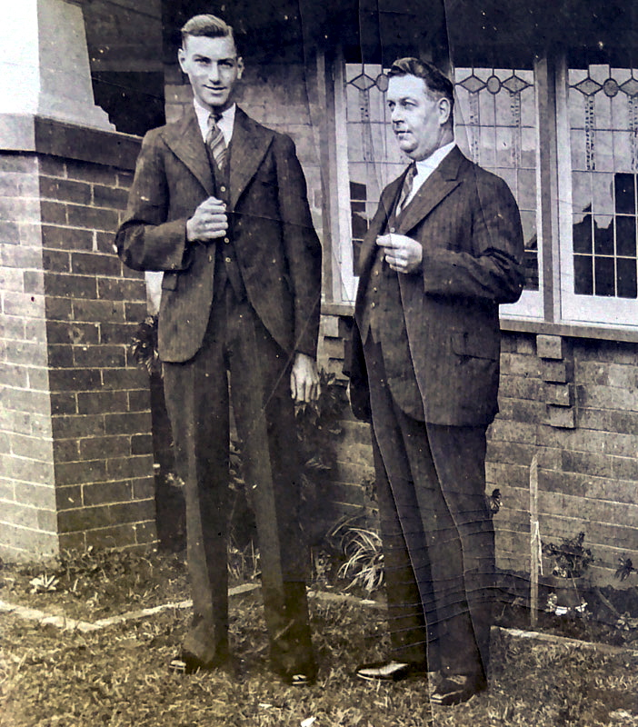 With his eldest son Brian Albert ALFORD on the day Albert started his career in banking at the Commonwealth Bank, Sydney