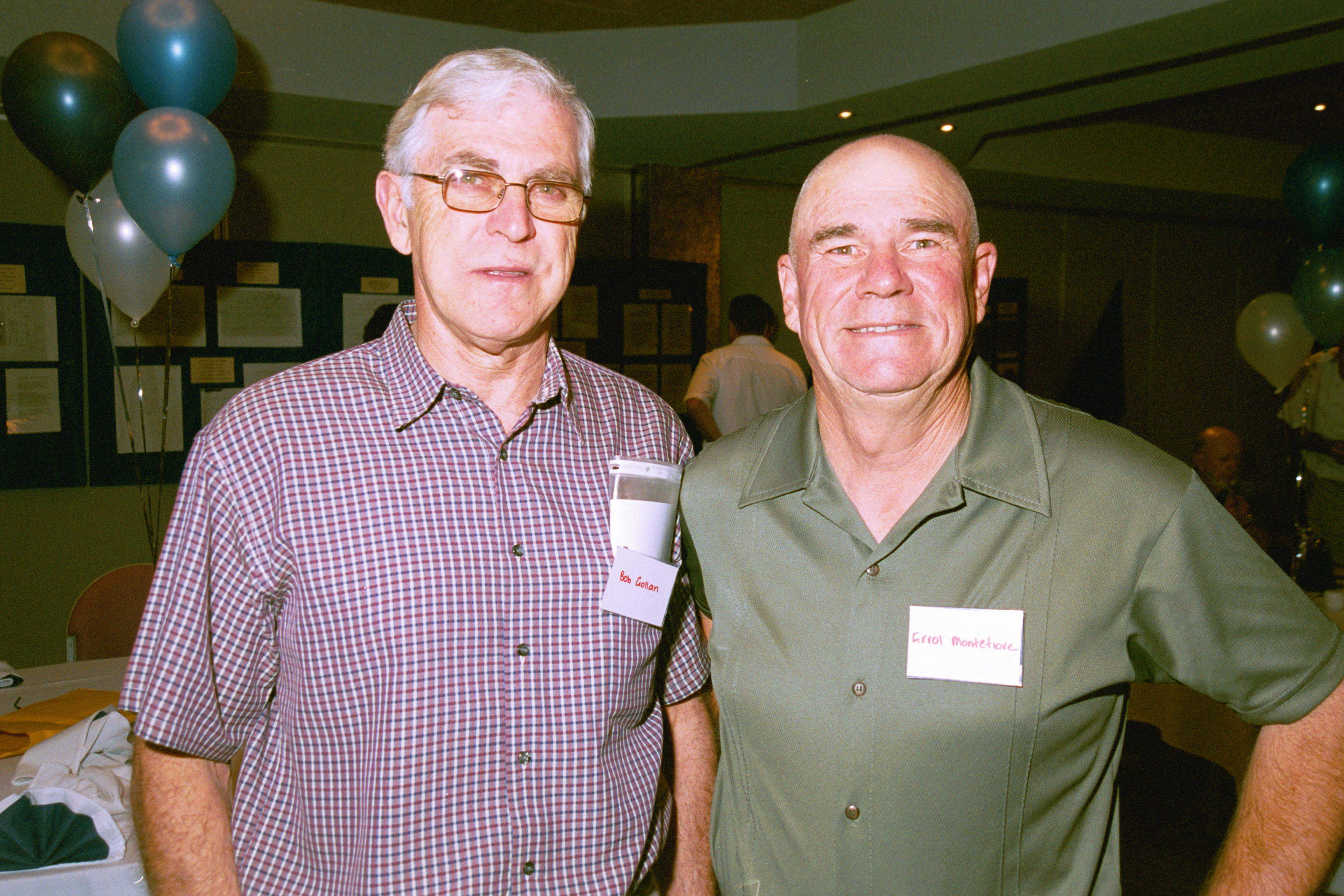 RETURN TO CABRAMATTA POLICE REUNION<br /> (L-R) BOB GOLLAN, ERROL MONTEFIORE<br /> 6 NOVEMBER 2004<br /> BOB GOLLAN DIED IN MARCH 2007 AGED 61.