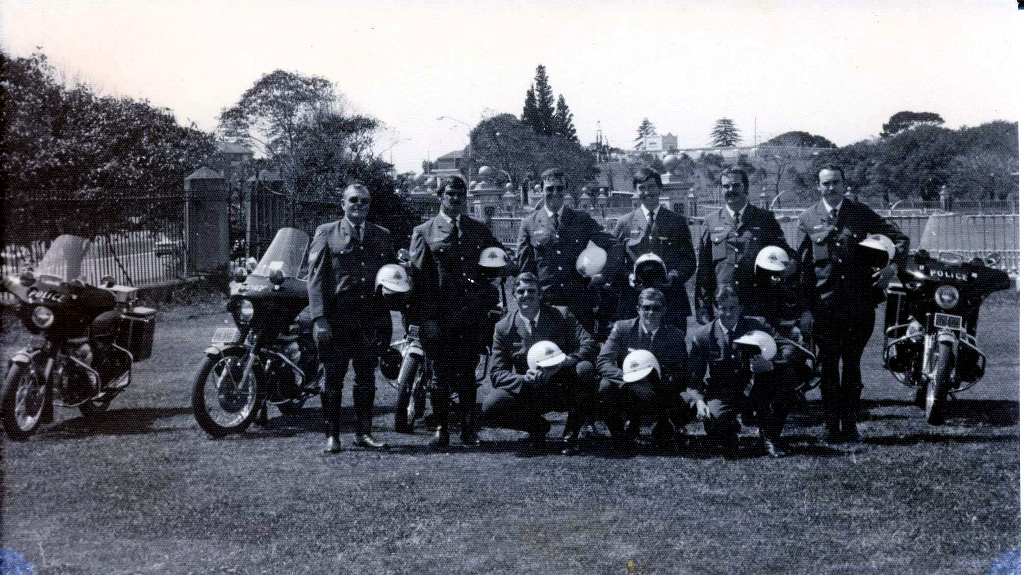 The cyclists from Waverley about 1972-73.<br /> From left: Sgt Ron Thompson (RIP The best!) Johnny Andrews, Chris Bult, Dana Jennings, Ian Granland, Peter Moffitt,<br /> (front row) Alan Ring, Gary Luff and Johnny Murphy<br /> Photo taken at Centennial Park, on top of the old water tank - just off Oxford St, Paddington.