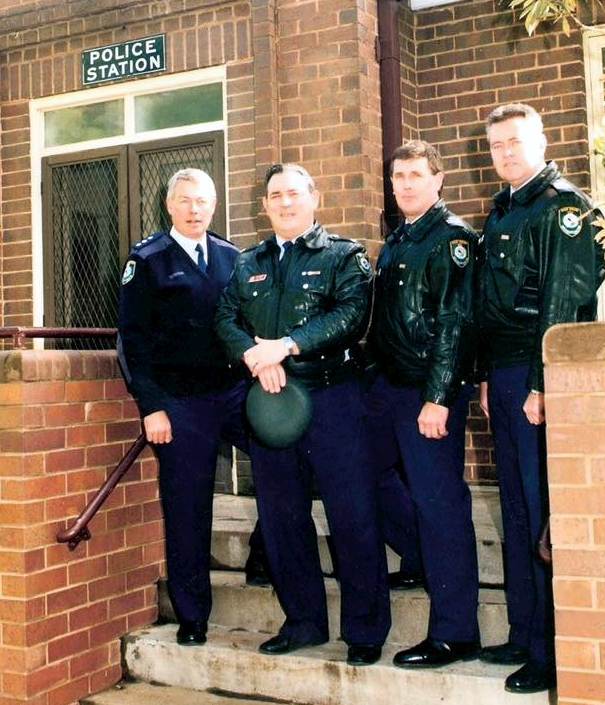 (L to R): Graeme Eipper, Mr. Tony Hahn (Deceased), John Curran & Unknown? — with John Curran at Old Griffith Police Station.
