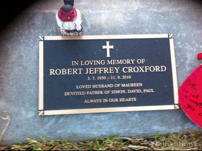 IN LOVING MEMORY OF ROBERT JEFFREY CORXFORD 3.7.1950 - 11.9.2010 LOVED HUSBAND OF MAUREEN DEVOTED FATHER OF SIMON, DAVID, PAUL ALWAYS IN OUR HEARTS