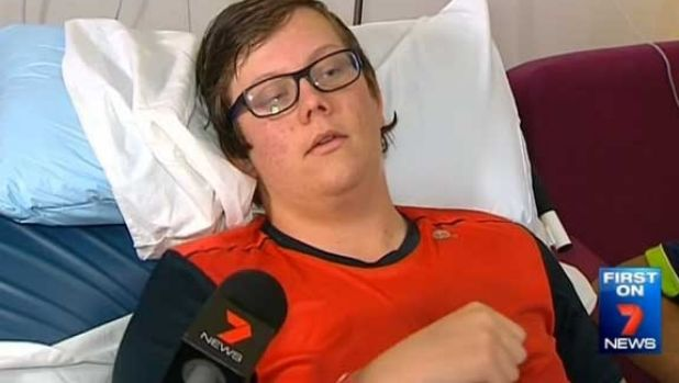 Josh Lawrie in his hospital bed at Nepean Hospital. Photo: Channel 7
