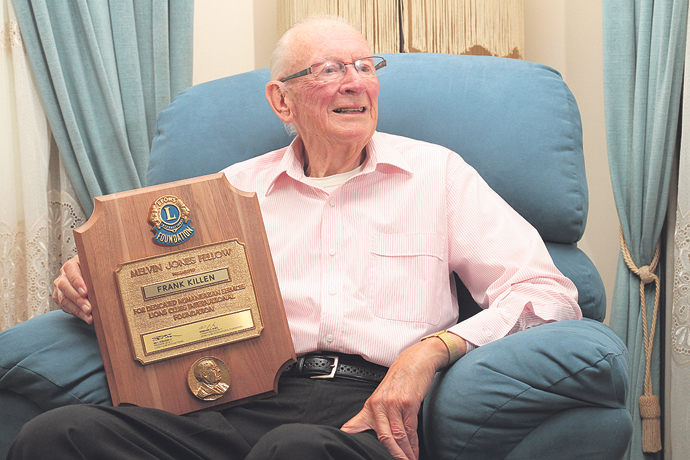 Lion Frank Killen, one of two founding members of the Penrith Lions Club, has been awarded the highly prestigious Melvin Jones Fellowship award for his ongoing dedication to the club.