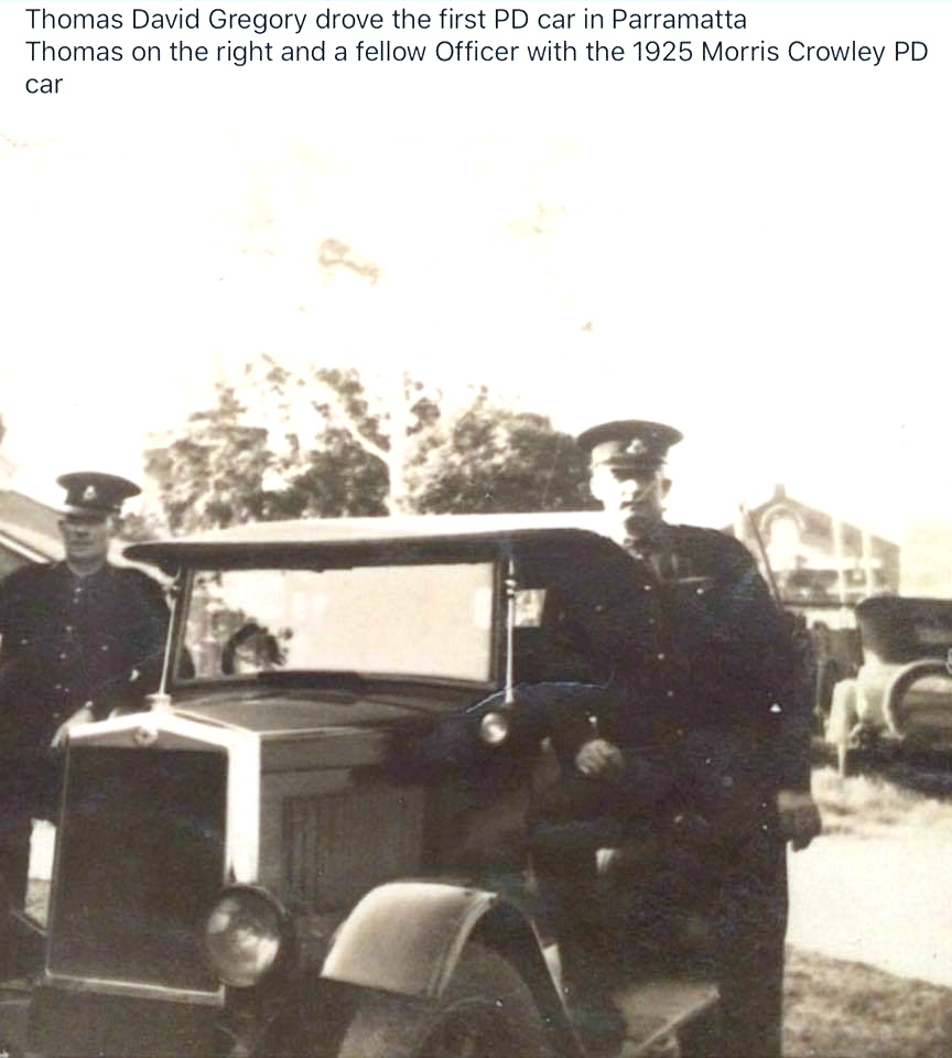 Thomas David Gregory drove the first PD car in Parramatta. Thomas on the right and fellow Officer with the 1925 Morris Crowley PD car.