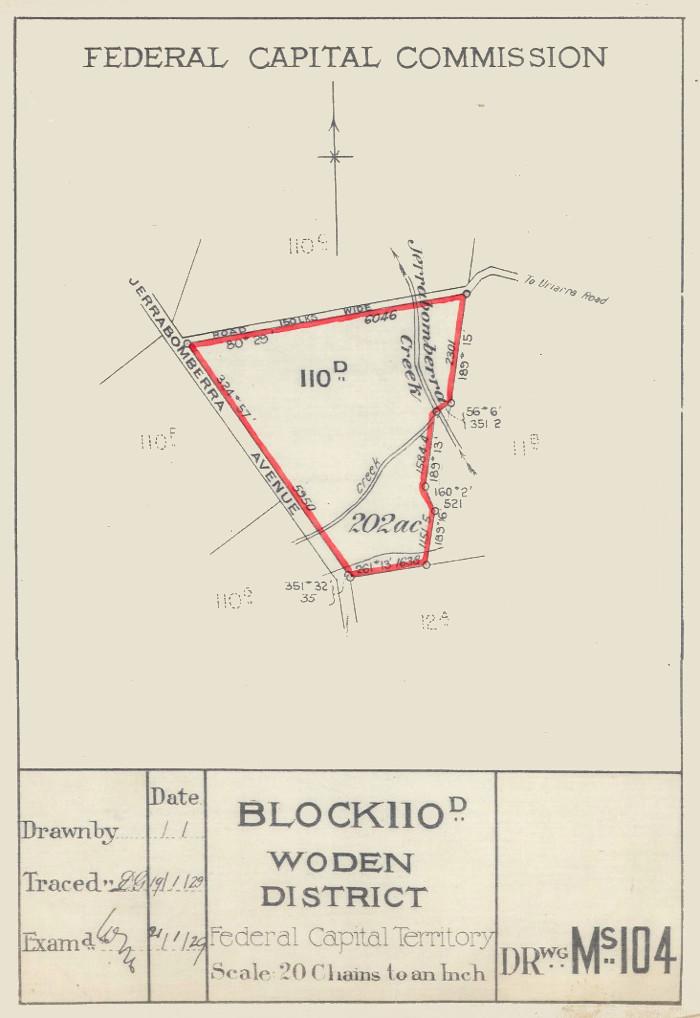 Plan of Woden Block 110D.