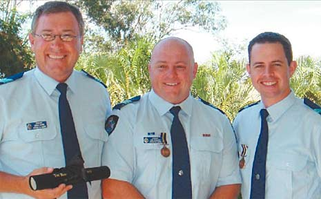 Deserving recipients of bravery awards at Wednesday's ceremony are (from left) Sergeant Owen Harms, Sergeant Jonathon Edwards and Sergeant Michael Phillips.<br /> Photo supplied