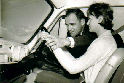Scott teaching his wife, Olwyn, to drive.<br />