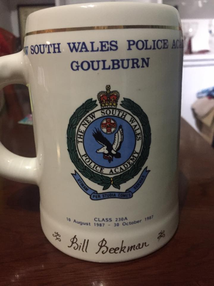 "NEW SOUTH WALES POLICE ACADEMY<br /> GOULBURN<br /> CLASS 230A<br /> 10 AUGUST 1987 - 30 OCTOBER 1987<br /> ""BILL BEEKMAN""<br />"