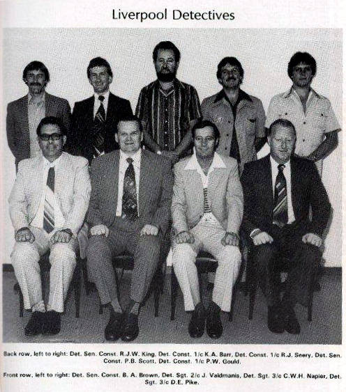 Back row, left to right:  Det. SenCon RJW King, Det Cst 1/c K.A. Barr, Det Cst 1/c R J Seery, Det SenCon P.B. Scott, Det Cst 1/c P.W. Gould  Front row.  Det SenCon B.A. Brown, Det Sgt 2/c J. Waldmanis, Det Sgt 3/c C.W.H. Napier, Det Sgt 3/c D.E. Pike