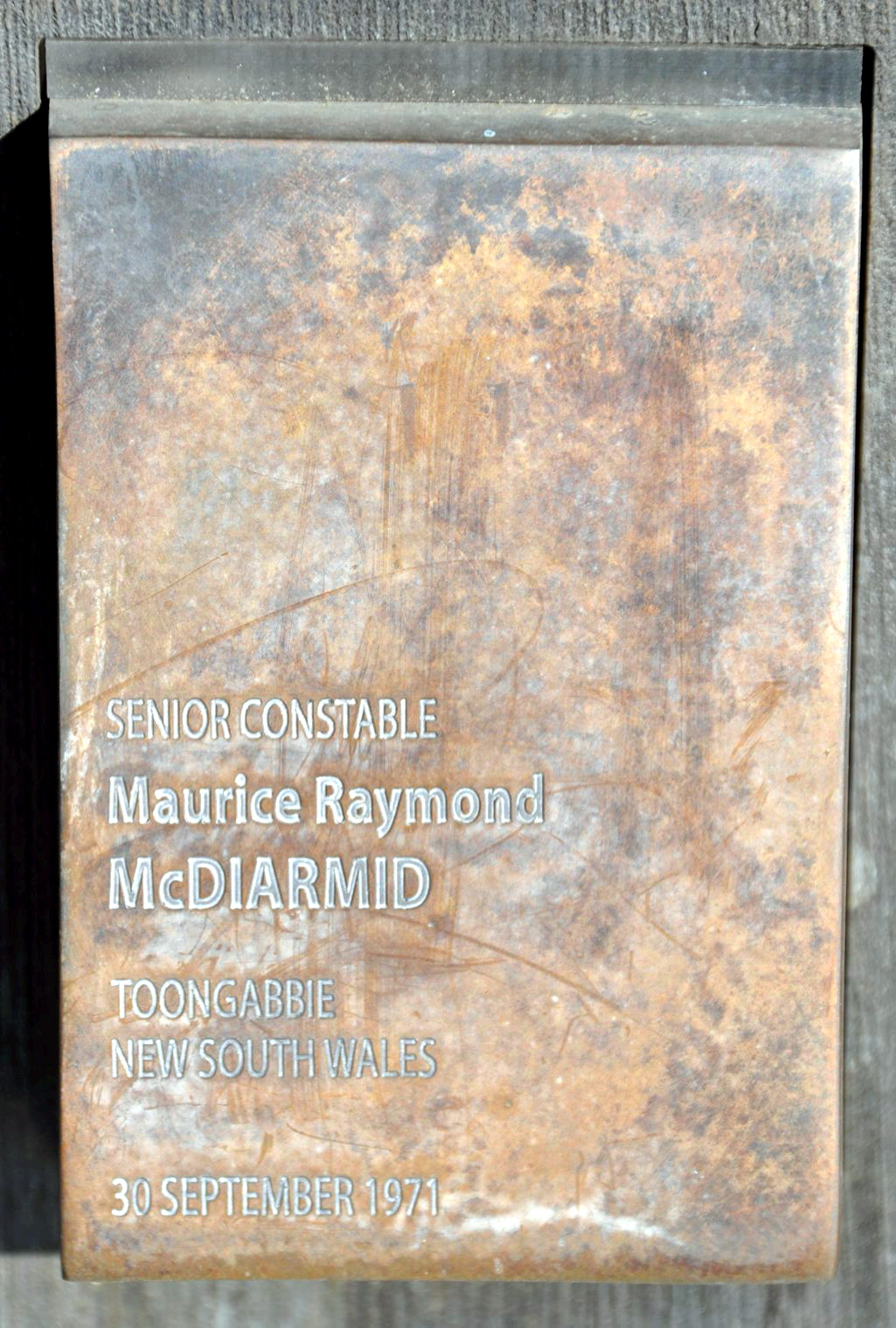 Touch Plate at the National Police Wall for Remembrance, Canberra. Maurice Raymond McDIARMID
