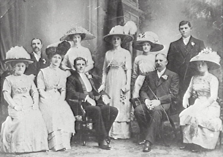 Wedding of A Willmott, son of Jacob Willmott; Back row from left: Mr Walters, Miss Shepherd, Bride, Miss Shepherd, .A. Willmott. Sitting from left: Mrs Walters, H. Willmott, Arthur Willmott, J. Willmott, Mrs Shepherd (sister of the bride and mother of the Misses Shepherd). ca. 1912