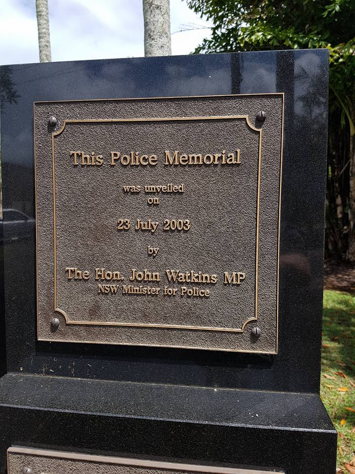 This Police Memorial was unveiled on 23 July 2003 by the Hon. John Watkins MP NSW Minister for Police.<br /> Part of the Lismore, NSW, Police Memorial