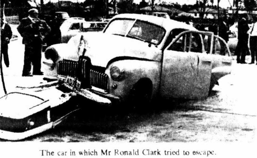 The car in which Mr Ronald Clark tried to escape. Rego ADX-6??
