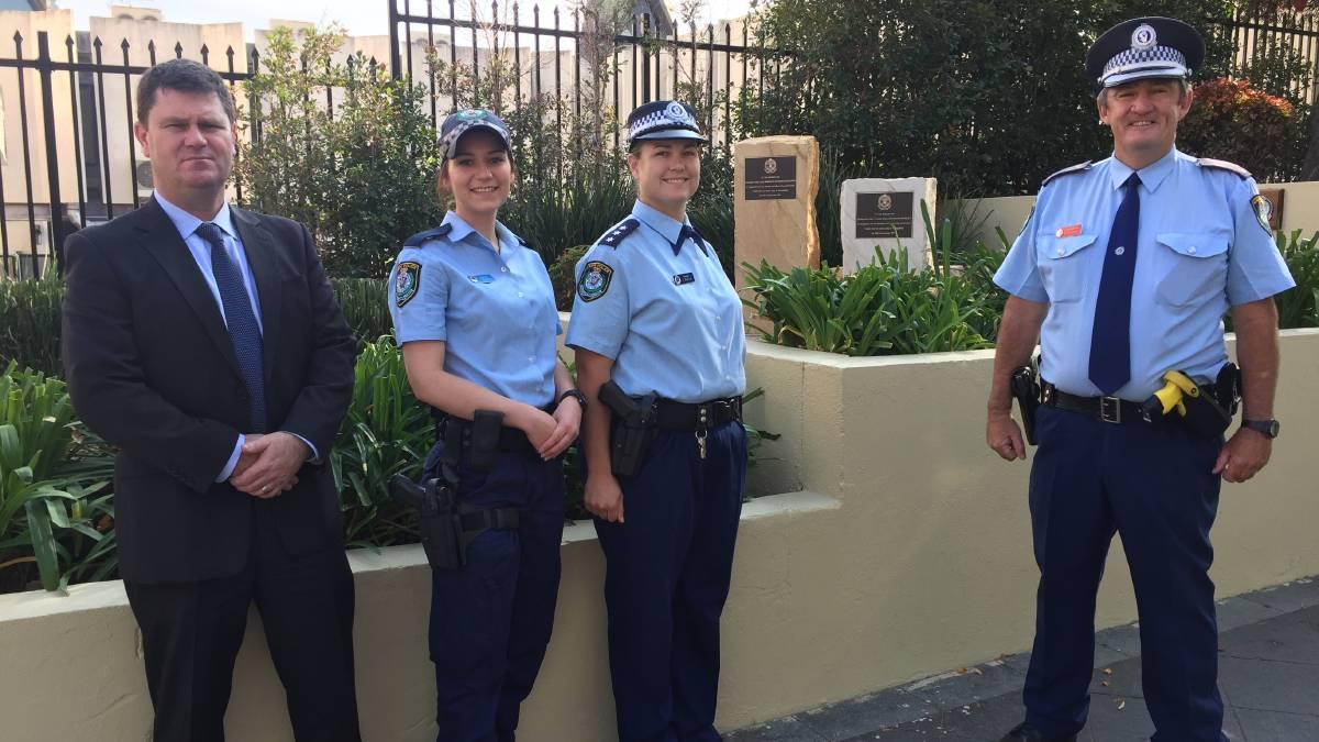 Detective Senior Sergeant Adam Wilson, Probationary Constable Peta Kendall, Acting Inspector Lauren Martin and Chief Inspector Bob Fitzgerald.