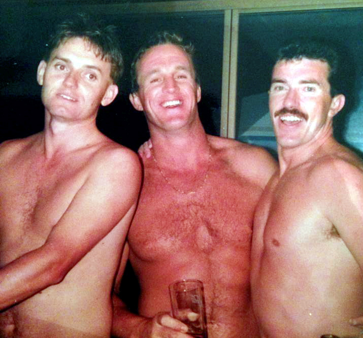 Steve Mann, Bruce Mexon and Ian Davies. This was taken at Donna Dewick house when we had 20 cops in her Mums hot tub. Luckily her Mum and Dad were away. It was a great night.