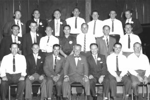 Back row, l to r: Bob Day, Ted Cook, Ken Fitzpatrick, Cliff McHardy, Ted Houghton, Frank Metz, Colin JoyceMiddle row: Dennis Toohey, Kevin Lawler, Frank Parkes, Dick Lascelles, John Eisenhuth, Bob Smith, Ron BuntFront row: Jim Pyne, Jock O'Keefe, Fred Aldred, Charlie Crittle, Joe Hall, John Wilson, Ken Donald