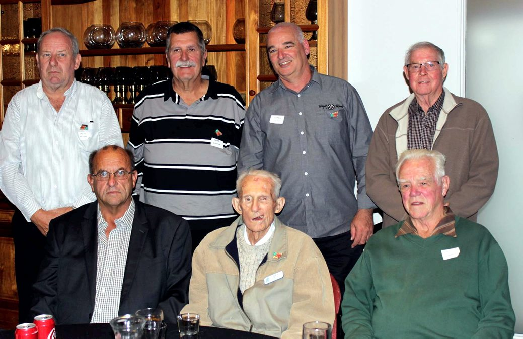 Standing: Geoff Mobbs. Peter Cinitis. Russell Lloyd. Harry Steele. Seated. Steve Behsmann. Reg Pinkerton. Ted Murray. All these officers served in the Barrier Command. Photo taken at the Back To Barrier Reunion 2017 in May.<br />