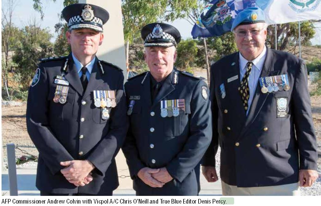 AFP Commissioner Andrew Colvin with Vicpol A/C Chris O'Neill and True Blue Editor Denis Percy