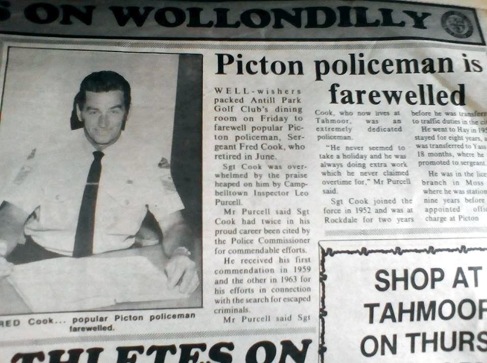 Fred Cook - popular Picton policeman farewelled.