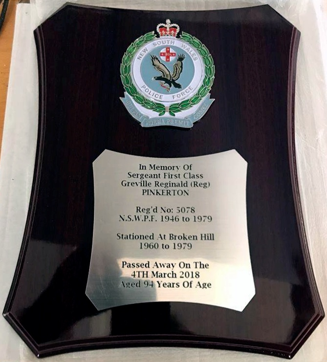 This Plaque will be presented to Superintendent Paul SMITH at the Back To Barrier Reunion in May, 2017.<br />