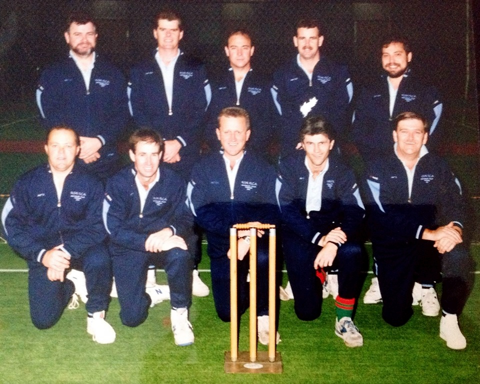 1991 <strong>Australian Police Indoor Cricket Titles</strong>, Tasmania. NSW Masters squad. Some legends among us here...!<br /> REAR ROW ( L - R )?, Graham STEVENS, ?, ?, ? FRONT ROW ( L - R )?, Des RESTALL, Bob GARE ( RIP ), Kevin PIPER, ? Although these fellows are in the photo - I don't know who is who.Lester ROBEY, Paul GRECH, Graham STOCKWELL, Graeme PARKER, 'SULLY',