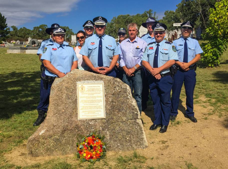 Paying tribute: Senior Oxley police, along with officers from Kootingal, Walcha, Nowendoc and Tamworth, pictured with Tamworth councillor Phil Betts.<br />