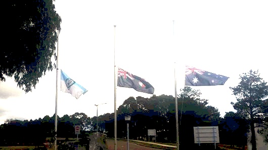 Flags at Half Mast for the funeral of Brett Ronald FERGUSON