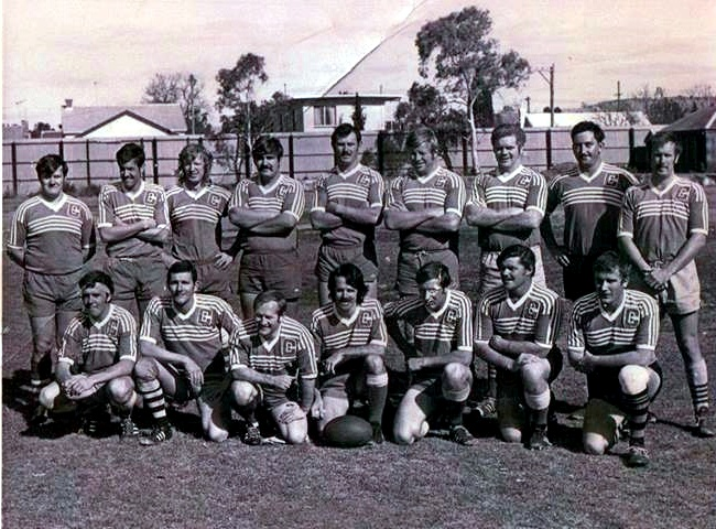 Back Row left to right Ron James - Joe Richards - Buster McLennan ( from Wilcannia.Was in Police in mid 70's & was stationed in 10 Division (Rose Bay). Didn't like the city, so Resigned and moved back to family property at Wilcannia. ) - Peter Cinitis - Don Forsyth - Dave Stuart / Stewart - Carey Johnson - Peter Whitfield @ Soapy - Ian MckenzieBottom left to right Gordon Fraser (HWP ) - Dennis Burrows - Bob Barton?(not police) - ? Nowlan (not police )- Geoff Mobbs - Charlie Fisher - Wayne Ison ( Wilcannia & Ivanhoe, Forster )Taken at Turf Oval, Broken Hill around 1975 - 76